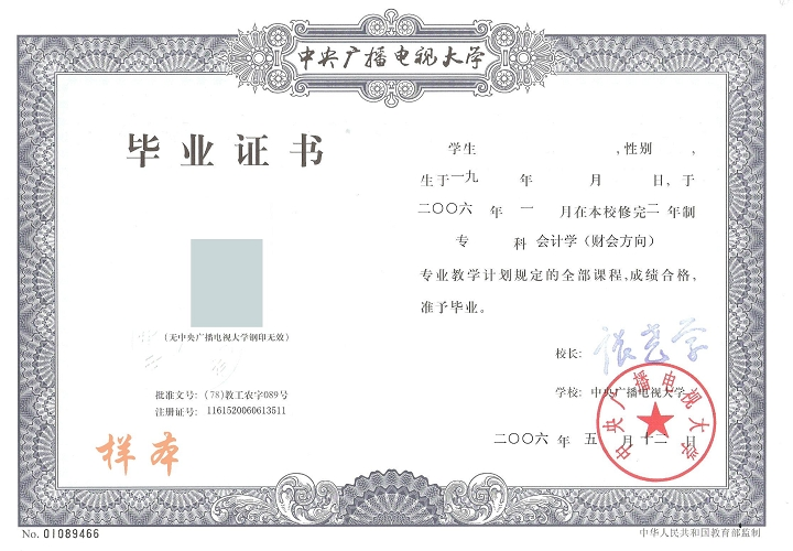 电大毕业证样本